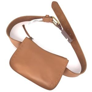 Frye Tan Leather Belt Bag Fanny Pack Small, XL